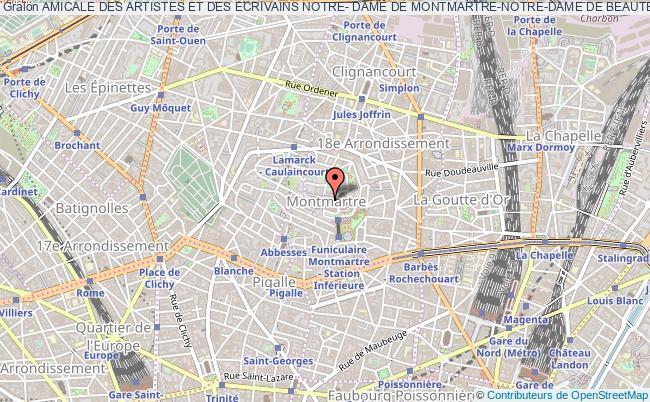 plan association Amicale Des Artistes Et Des Ecrivains Notre- Dame De Montmartre-notre-dame De Beaute Reine De La Paix