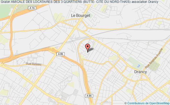 plan association Amicale Des Locataires Des 3 Quartiers (butte- CitÉ Du Nord-thaÏs) Drancy