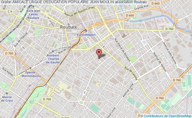 plan association Amicale Laique D'education Populaire Jean Moulin Roubaix