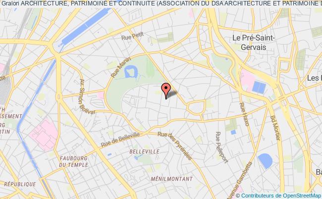plan association Architecture, Patrimoine Et Continuite (association Du Dsa Architecture Et Patrimoine De Paris Belleville)
