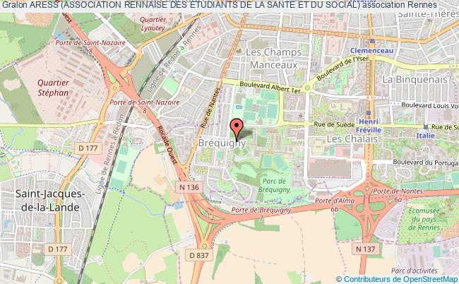plan association Aress (association Rennaise Des Etudiants De La Sante Et Du Social) Rennes