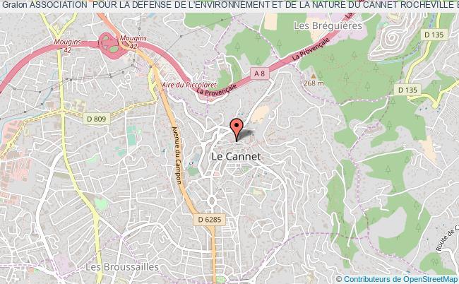 plan association Association  Pour La Defense De L'environnement Et De La Nature Du Cannet Rocheville Et Des Limites Intercommunales (cannes Mougins Vallauris) (aden) Le    Cannet