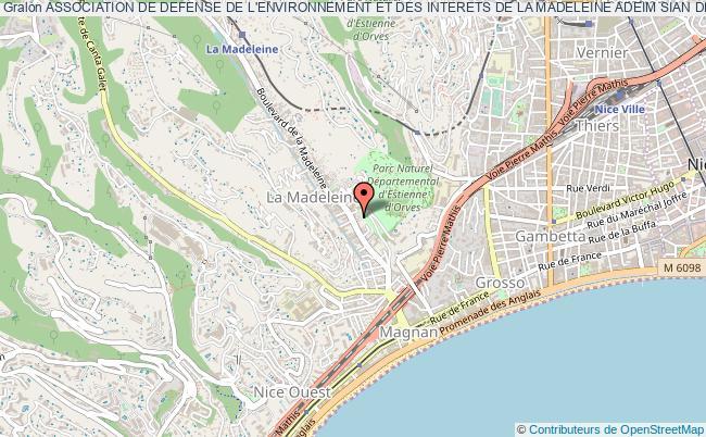 plan association Association De Defense De L'environnement Et Des Interets De La Madeleine Adeim Sian De La Madalena Nice