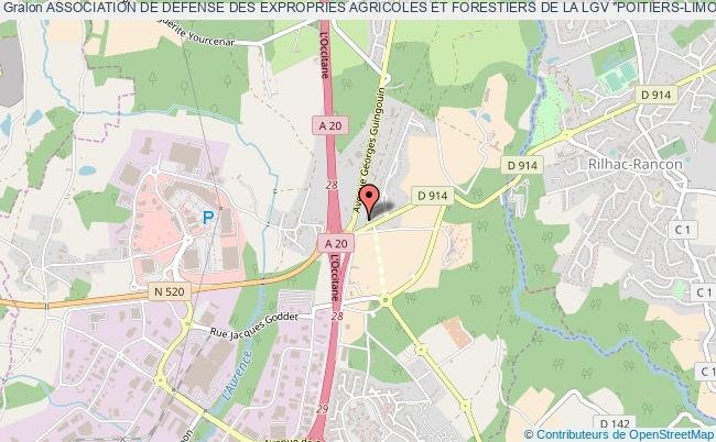 """plan association Association De Defense Des Expropries Agricoles Et Forestiers De La Lgv """"poitiers-limoges"""" Denommee Ade 86-87"""