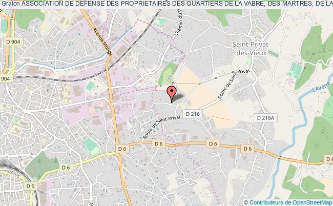 plan association Association De Defense Des Proprietaires Des Quartiers De La Vabre, Des Martres, De La Croix Du Gal Et Des Pres (adp/zac La Vabre)