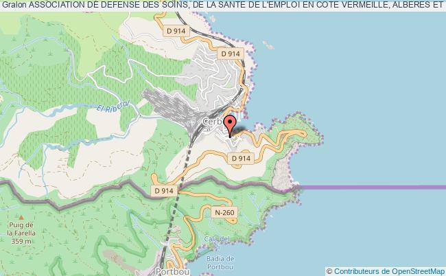 plan association Association De Defense Des Soins, De La Sante De L'emploi En Cote Vermeille, Alberes Et Vallespir
