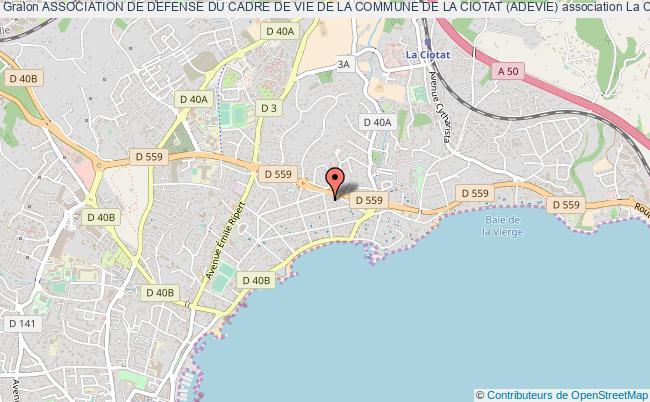 plan association Association De Defense Du Cadre De Vie De La Commune De La Ciotat (adevie)