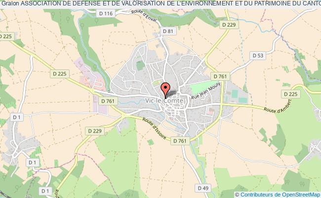 plan association Association De Defense Et De Valorisation De L'environnement Et Du Patrimoine Du Canton De Vic Le Comte (advep) Vic-le-Comte