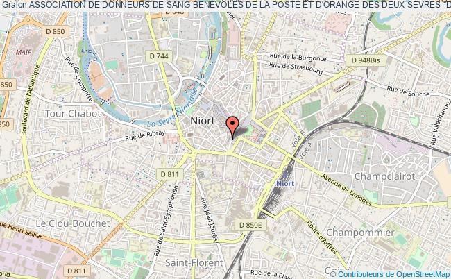 """plan association Association De Donneurs De Sang Benevoles De La Poste Et D'orange Des Deux Sevres """"don Du Sang, La Poste - Orange 79"""""""