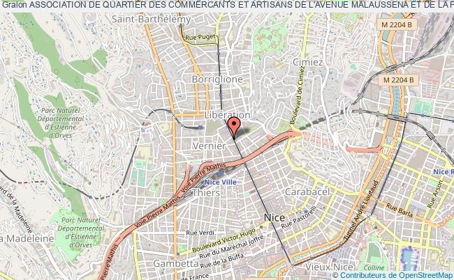 plan association Association De Quartier Des Commercants Et Artisans De L'avenue Malaussena Et De La Place De Gaulle (aqcamade) Nice