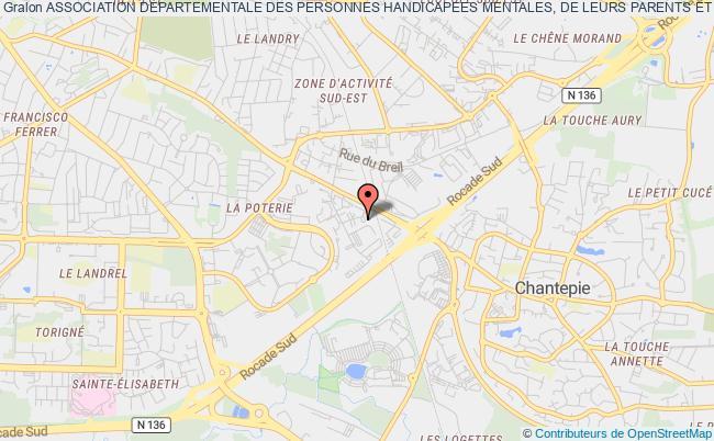 """plan association Association Departementale Des Personnes Handicapees Mentales, De Leurs Parents Et Amis """"les Papillons Blancs D'ille Et Vilaine"""" Rennes"""