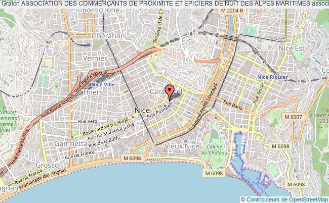 plan association Association Des CommerÇants De Proximite Et Epiciers De Nuit Des Alpes Maritimes Nice
