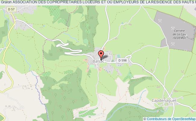 plan association Association Des Coproprietaires Loueurs Et Ou Employeurs De La Residence Des Hauts Plateaux (aclerhp) Balsac