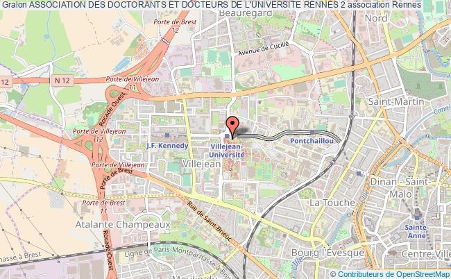 plan association Association Des Doctorants Et Docteurs De L'universite Rennes 2 Rennes