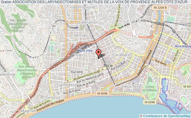 plan association Association Des Laryngectomises Et Mutiles De La Voix De Provence Alpes CÔte D'azur - Corses Orl Vie Nouvelle Nice