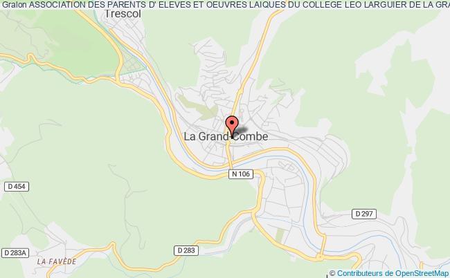 plan association Association Des Parents D' Eleves Et Oeuvres Laiques Du College Leo Larguier De La Grand Combe.
