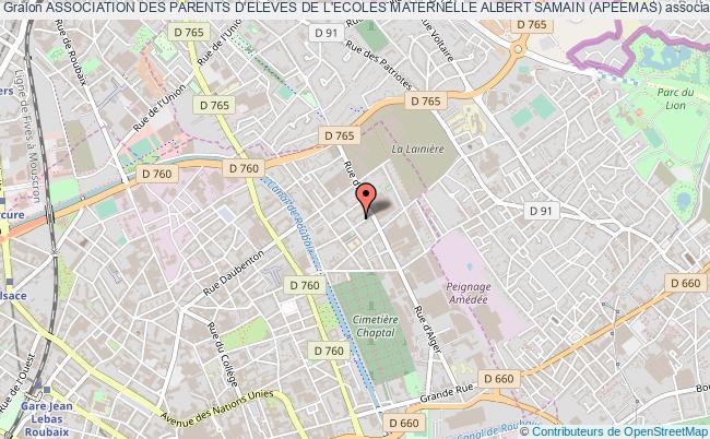 plan association Association Des Parents D'eleves De L'ecoles Maternelle Albert Samain (apeemas) Roubaix