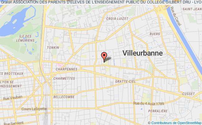 plan association Association Des Parents D'eleves De L'enseignement Public Du College Gilbert Dru - Lyon 3e (association Peep Du College Gilbert Dru - Lyon 3e)