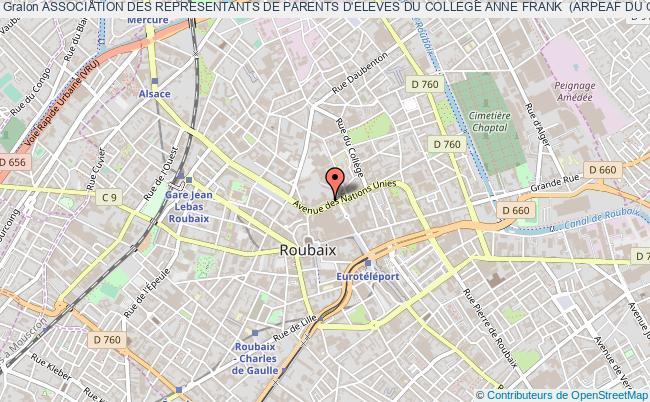 plan association Association Des Representants De Parents D'eleves Du College Anne Frank  (arpeaf Du College Anne Frank) Roubaix