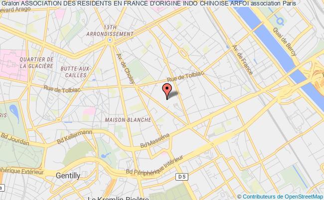 plan association Association Des Residents En France D'origine Indo Chinoise Arfoi Paris