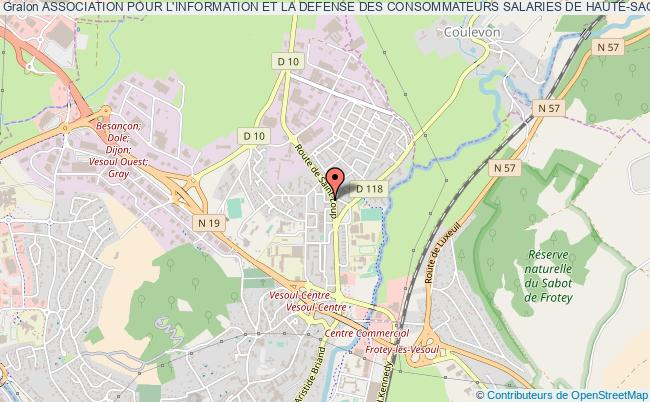 plan association Association Pour L'information Et La Defense Des Consommateurs Salaries De Haute-saone - Indecosa Cgt 70 Vesoul