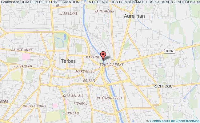 plan association Association Pour L'information Et La Defense Des Consommateurs Salaries - Indecosa Tarbes