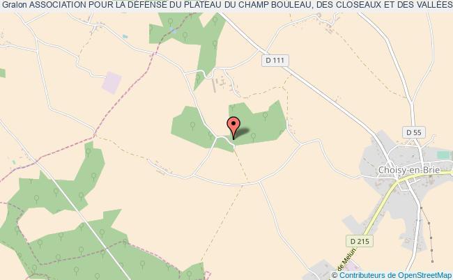 plan association Association Pour La DÉfense Du Plateau Du Champ Bouleau, Des Closeaux Et Des VallÉes De L'aubetin Et Du Grand Morin Choisy-en-Brie