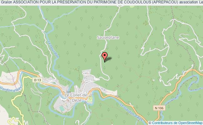 plan association Association Pour La PrÉservation Du Patrimoine De Coudoulous (aprepacou)