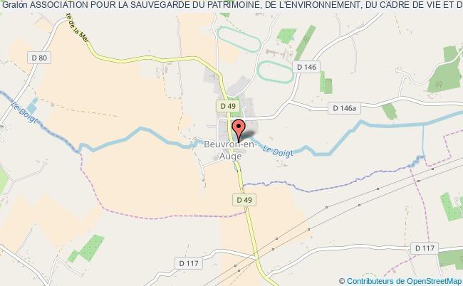 plan association Association Pour La Sauvegarde Du Patrimoine, De L'environnement, Du Cadre De Vie Et De La Tradition De Beuvron En Auge (aspect) Beuvron-en-Auge