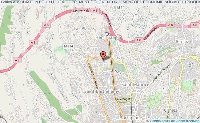 plan association Association Pour Le Developpement Et Le Renforcement De L'economie Sociale Et Solidaire (adress) Nice