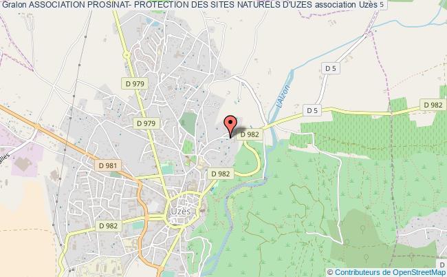 plan association Association Prosinat- Protection Des Sites Naturels D'uzes Uzès