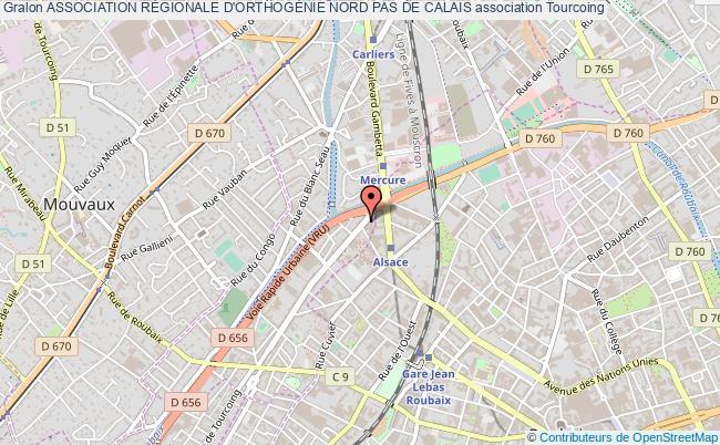 plan association Association RÉgionale D'orthogÉnie Nord Pas De Calais Tourcoing