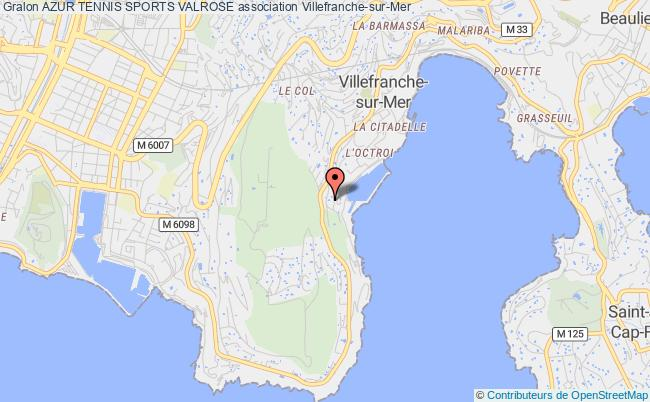 plan association Azur Tennis Sports Valrose Villefranche-sur-Mer