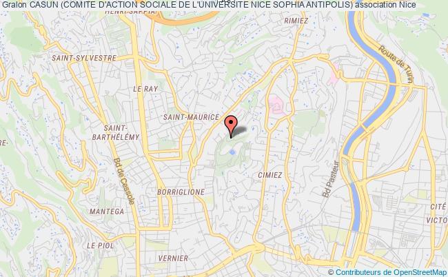 plan association Casun (comite D'action Sociale De L'universite Nice Sophia Antipolis) Nice cedex 2