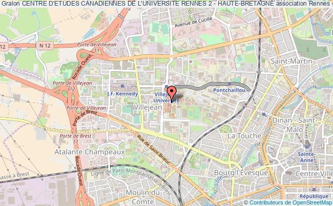 plan association Centre D'etudes Canadiennes De L'universite Rennes 2 - Haute-bretagne