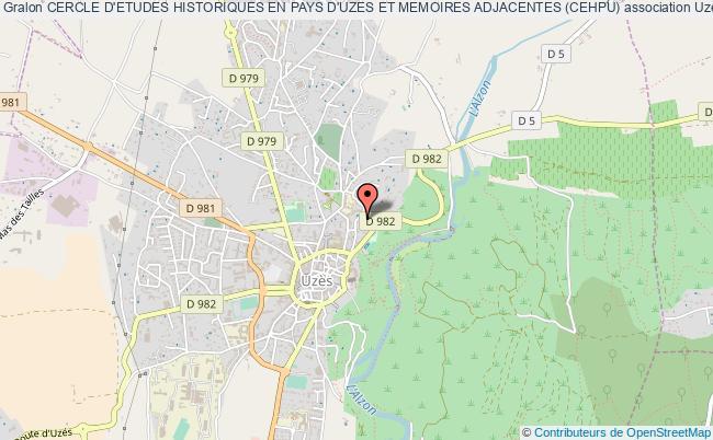 plan association Cercle D'etudes Historiques En Pays D'uzes Et Memoires Adjacentes (cehpu) Uzès