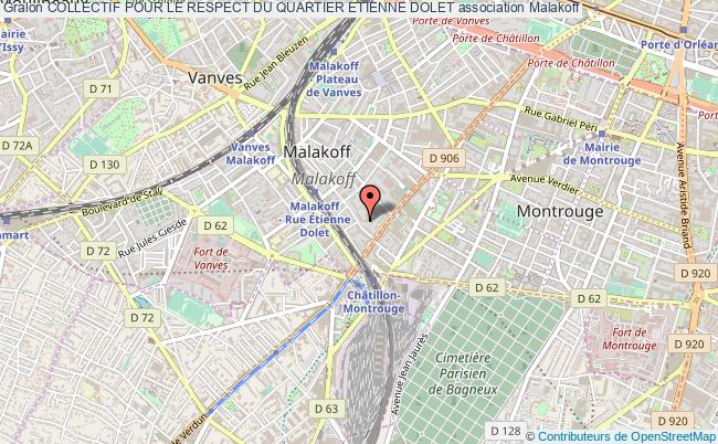 plan association Collectif Pour Le Respect Du Quartier Etienne Dolet Malakoff