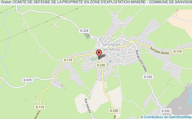 plan association Comite De Defense De La Propriete En Zone D'exploitation Miniere - Commune De Sanvignes Les Mines Et Limitrophe