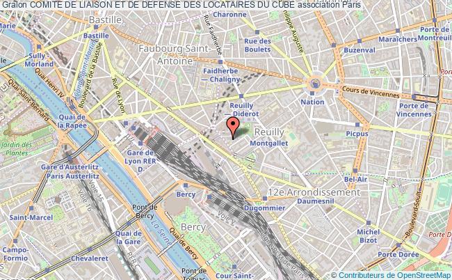 plan association Comite De Liaison Et De Defense Des Locataires Du Cube Paris 12e