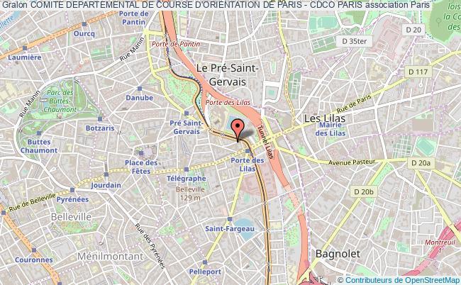 plan association Comite Departemental De Course D'orientation De Paris - Cdco Paris