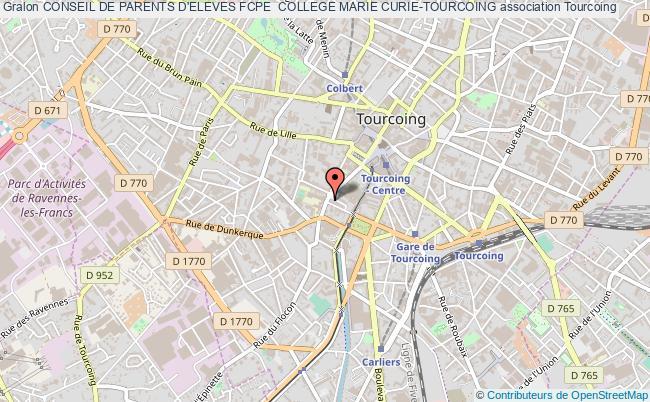 plan association Conseil De Parents D'eleves Fcpe  College Marie Curie-tourcoing