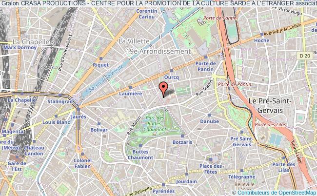 plan association Crasa Productions - Centre Pour La Promotion De La Culture Sarde A L'etranger