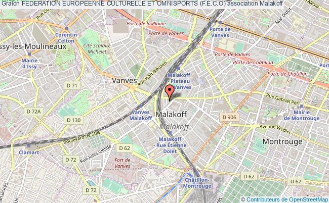 plan association Federation Europeenne Culturelle Et Omnisports (f.e.c.o) Malakoff