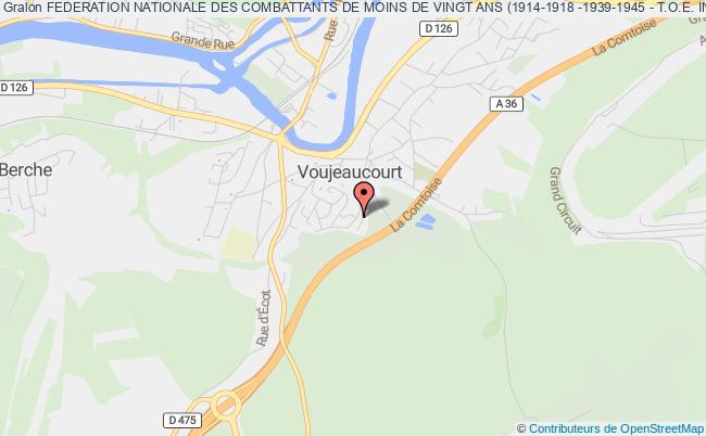 plan association Federation Nationale Des Combattants De Moins De Vingt Ans (1914-1918 -1939-1945 - T.o.e. Indochine - Afrique Du Nord) Section Du Doubs