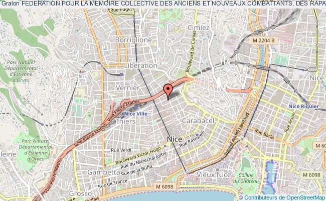 plan association Federation Pour La Memoire Collective Des Anciens Et Nouveaux Combattants, Des Rapatries Et Des Harkis - F.m.c.a.n.c.r.h. Nice