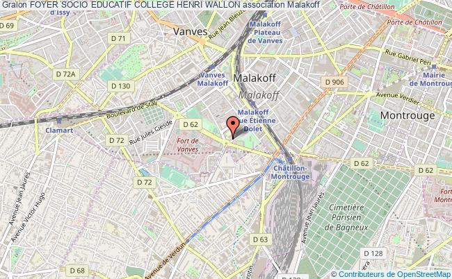 plan association Foyer Socio Educatif College Henri Wallon Malakoff