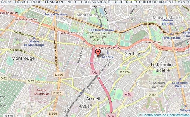 plan association Gnosis (groupe Francophone D'etudes Arabes, De Recherches Philosophiques Et Mystiques) Gentilly