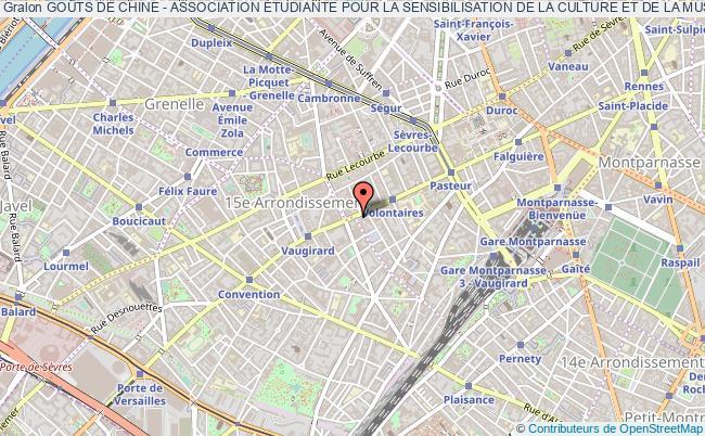 plan association GoÛts De Chine - Association Étudiante Pour La Sensibilisation De La Culture Et De La Musique Chinoise Paris 15e