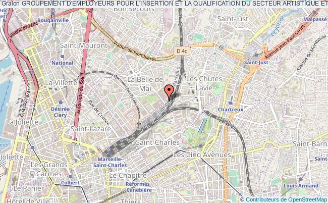 plan association Groupement D'employeurs Pour L'insertion Et La Qualification Du Secteur Artistique Et Culturel Marseille