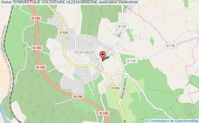 plan association Gymnastique Volontaire Vezenobrienne Vézénobres